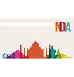 Travel India destination landmarks skyline vector image