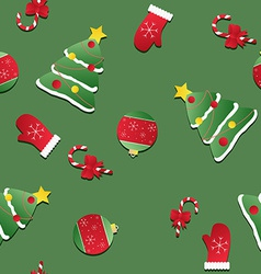 Seamless christmas pattern texture with red vector