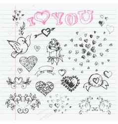 Valentines Day Love and Hearts Sketch Notebook vector image
