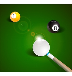 Billiard balls in a green pool table vector