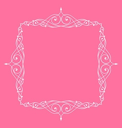 Calligraphic frame and page decoration pink vector