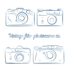 Set of vintage blue ink film photocameras vector