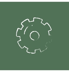 Gear icon drawn in chalk vector