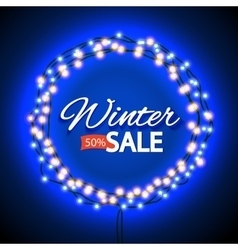 Winter sale lights frame vector