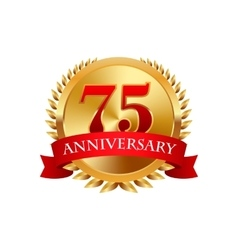 75 years anniversary golden label with ribbons vector