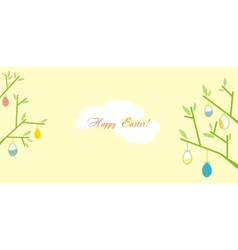 Easter greeting card with branches vector