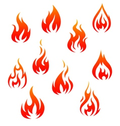 Set of fire flames isolated on white vector image