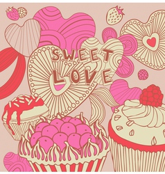 Retro sweet love background vector
