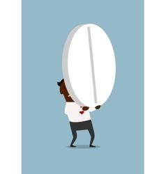 Black businessman carrying a huge pill vector