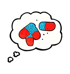Cartoon painkillers with thought bubble vector