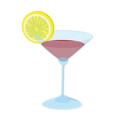 Cocktail with a lime slice cartoon icon vector image vector image