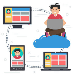 computer user with different devices vector image