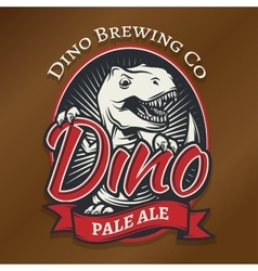 Dino craft beer logo concept t-rex bar vector