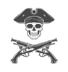 Evil captain skull in cocked hat Jolly vector image vector image
