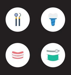 Flat icons equipment implantation artificial vector