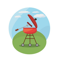 grill barbecue picnic landscape vector image
