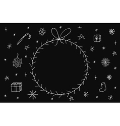 Hand drawn christmas frame on dark background vector