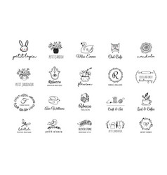 hand drawn simple and chic bohemian icon set vector image