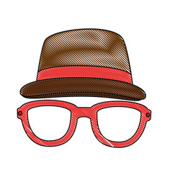 Hat and glasses icon vector