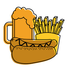 Hot dog french fries and beer fast food vector