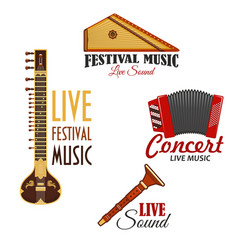 musical instruments icons for music concert vector image vector image
