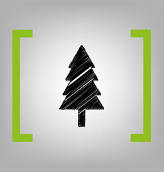 New year tree sign black scribble icon in vector