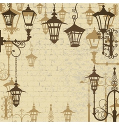Old town background with wrought lanterns vector