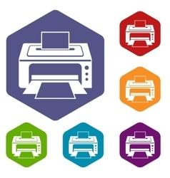 Printer icons set vector
