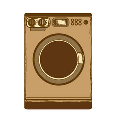 sepia silhouette with washing machine vector image vector image