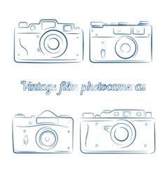 Set of vintage blue ink film photocameras vector