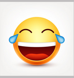 smileylaughing emoticon with tears yellow face vector image