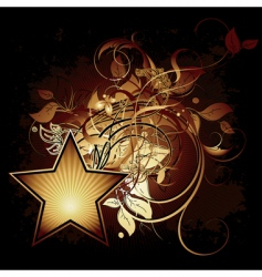 star with floral elements vector image
