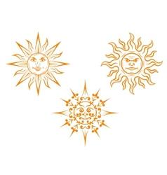 Vintage sun mascots vector