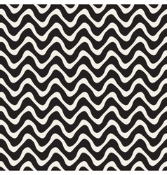Wavy lines seamless black and white pattern vector