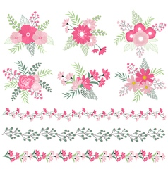 Wedding Bouquets And Borders vector image