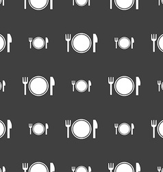 Plate icon sign Seamless pattern on a gray vector image