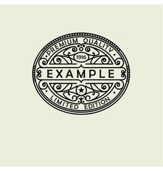 Beautiful floral oval emblem badge monogram for vector