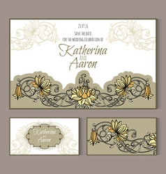 Set of invitation wedding cards with place for vector