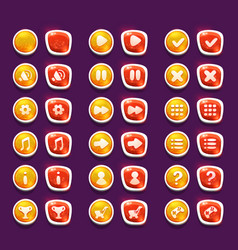 set with shiny red and yellow interface buttons vector image