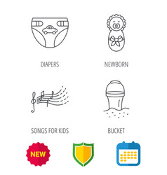 Diapers newborn baby and songs for kids icons vector