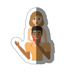 Woman hugging man lovely shadow vector