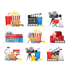 colorful cinema elements set vector image
