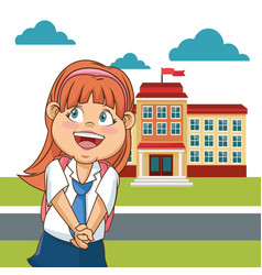 cute girl student school building facade cloud vector image