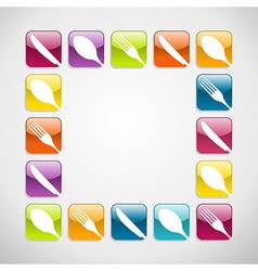 Rounded square cutlery web icons background vector