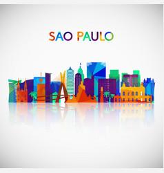 sao paulo skyline silhouette in polygonal style vector image