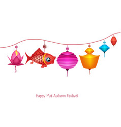 String of bright hanging lantern decorations on vector