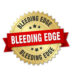 Bleeding edge round isolated gold badge vector
