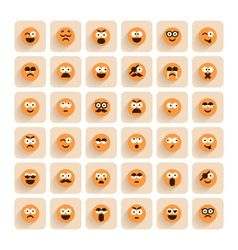 Set of emotion smiling faces icons vector