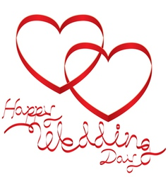 Heart shape ribbon and wedding text vector