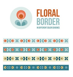 Set of design elements - floral borders vector